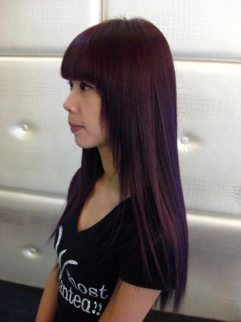 酒红棕色头发图_头发颜色葡萄紫_头发颜色葡萄紫高清图片